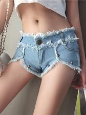 Chic Tassel Rivets Denim Hot Pants
