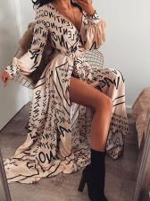 Stylish Letter Print Slit Binding Apricot Maxi Dresses