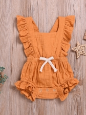 Square Neck Ruffles Button Up Girl Romper