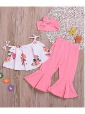 Flower Tie-Wrap Flare Pants Girl 3 Pieces Set