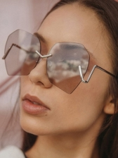 Trendy Polygonal Metal Non-frame Sunglasses