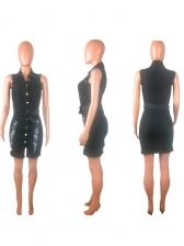 Stylish Worn Out Binding Button Denim Dresses