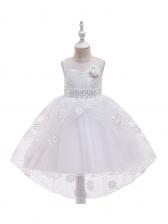 Embroidered Gauze Large Hem Girl High Low Dress
