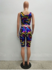Colorful Fish Scale Cropped 2 Pieces Sets