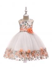 Flower Embroidered Gauze Girls Princess Dress