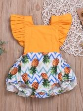 Pineapple Contrast Color Ruffles Girls Romper