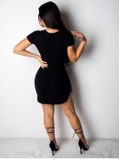 Crew Neck Print Short Sleeve Dress