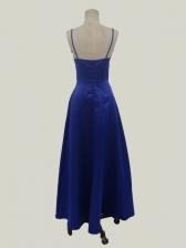 V Neck Sexy Blue Sleeveless Maxi Dress