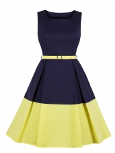 Square Collar Color Block Fitted Sleeveless Dress