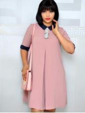 Turndown Collar OL Style Pink Half Sleeve Dress