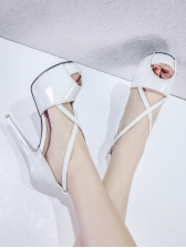 Trendy Peep Toe Crossed Strap Stiletto Sandals