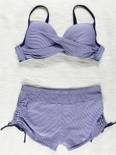 Casual Plus Size Solid Bikini Set