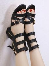 Roman Style Cross Belt Zipper Up Flat Sandals