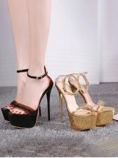 Sexy PVC Ankle Strap Platform Stiletto Heels