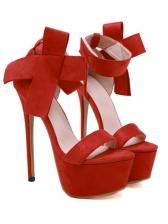 Stylish Bow Suede Platform Stiletto Heels