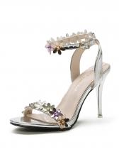 Korean Design Stereo Flower Thin Heel Ankle Strap Sandals