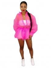 Single-Breasted Gauze Solid Long Coat