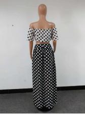 Boat Neck Polka Dots Split Hem Maxi Skirt Sets