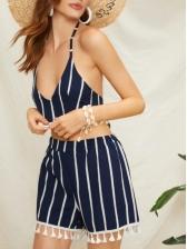 Striped Tassels V-Neck Dark Blue Cropped Swimsuits