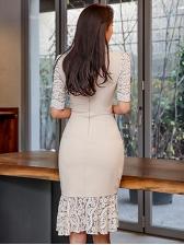 Sexy V Neck Flounce Hem Half Sleeve Fitted Dress
