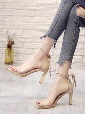 Fashion Rivets PVC Lace Up Heeled Sandals