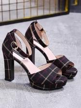 Vintage Peep Toe Plaid Ankle Strap Sandals