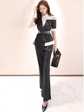 Striped Contrast Color Off Shoulder Women Suits