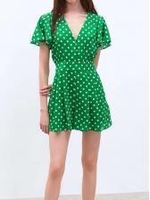 V Neck Polka Dots Green Short Sleeve Dress