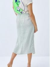 Euro Polka Dots Irregular Hem Midi Skirt
