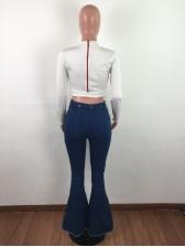 Stylish Fringe Dark Blue Denim Flare Trousers