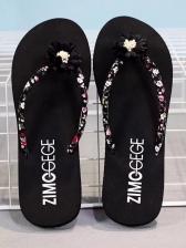 Fashion Flower Printed Beach Flip Flop