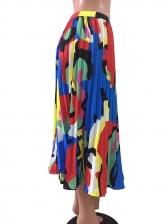 Summer Printing Pleated Midi Skirt