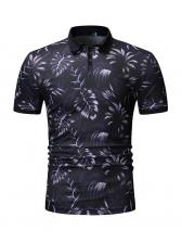 Fashion Causal Leaves Printed Polo Shirt