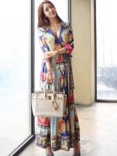 V Neck Print Pleated Vacation Maxi Dress