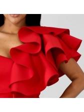 Chic Ruffles Asymmetric Red Blouse For Women