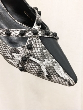 Pointed Toe Snake Printed Beading Mules Shoes