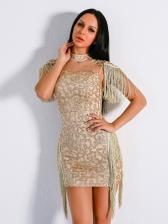 Elegant Mock Neck Sexy Short Dress