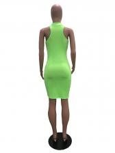 Mock Neck Bright Color Sleeveless Body Dress