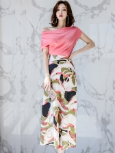 Korean Inclined Shoulder Top With Printed Skirt