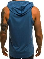 Simple Design Solid Men Hooded Vest