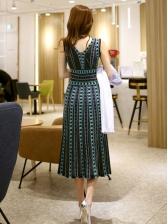 Print Smocked Waist Sleeveless Midi Dress