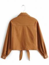 Turndown Neck Khaki Shirt For Women