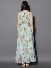Fashion Crew Neck Chiffon Flower Maxi Dress