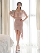 Boat Neck Off The Shoulder Pink Fitted Dress