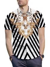 Striped Printed Button Up Turndown Collar Shirt