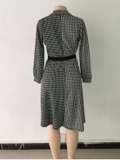 Fashionable Houndstooth Lapel Binding Black Dresses