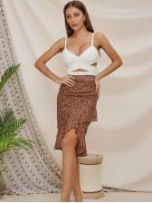 Stylish Floral Asymmetrical Fish Tail Chiffon Skirt