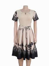 Fashionable Printing Round Neck Smart Waist Female Dresses