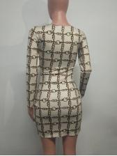 Korean Printed V Neck Fitted Ladies Dress