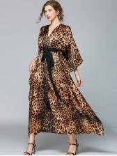 Leopard Tie-Wrap Bat Sleeve Maxi Dress